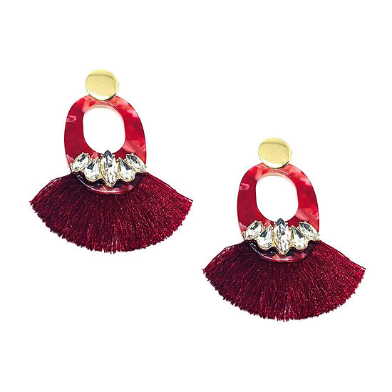 Bijoux Bar Red Resin Fringe Drop Earrings