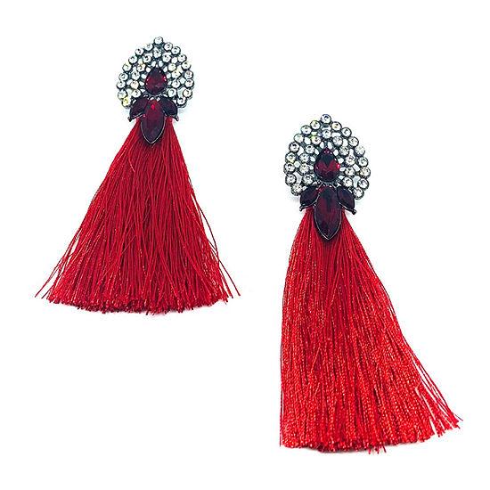 Bijoux Bar Fringe Red Drop Earrings