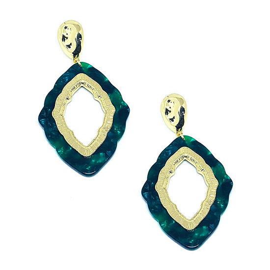 Bijoux Bar Green Resin Drop Earrings
