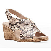 Deals on Clarks Womens Lafley Alaine Wedge Sandals