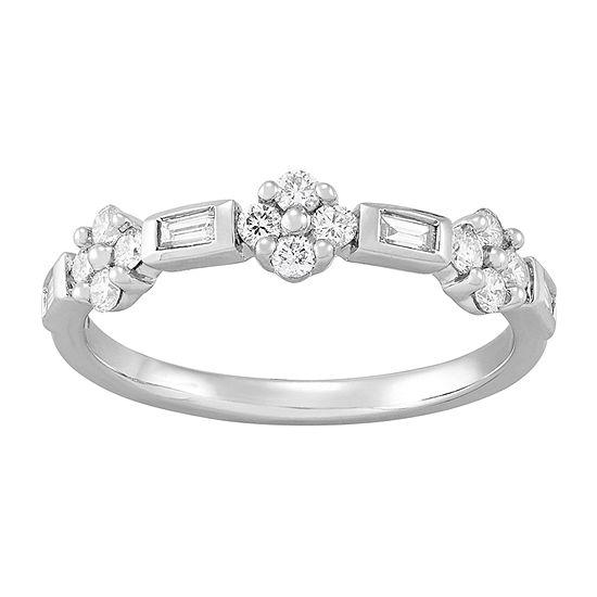 Womens 3/8 CT. T.W. Genuine White Diamond 10K White Gold Anniversary Cocktail Ring