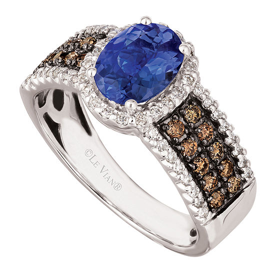 LIMITED QUANTITIES! Le Vian Grand Sample Sale™ Ring featuring Blueberry Tanzanite® Chocolate Diamonds® Vanilla Diamonds® set in 14K Vanilla Gold®