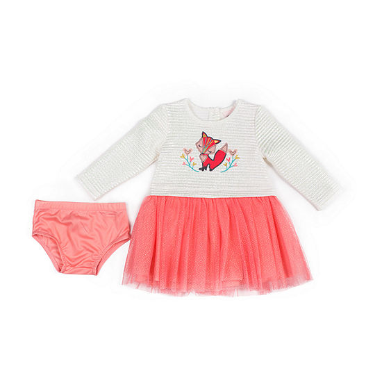 Little Lass Girls Long Sleeve A-Line Dress - Baby