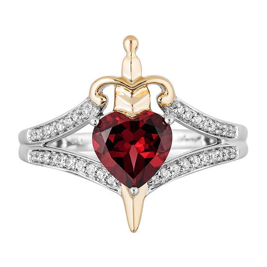 Enchanted Disney Fine Jewelry Villains Evil Queen Womens 1/10 CT. T.W. Genuine Red Garnet 10K Gold Over Silver Heart Disney Princess Cocktail Ring