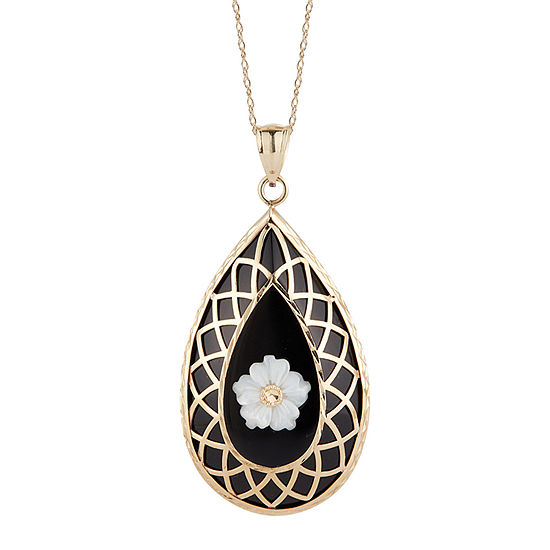 Womens Genuine Black Onyx 10K Gold Oval Pendant Necklace