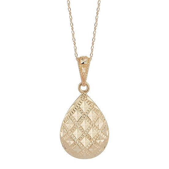 Womens Black 14K Gold Oval Pendant Necklace