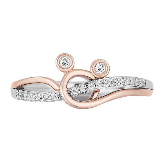 Womens 1/10 CT. T.W. Genuine Diamond 14K Rose Gold Over Silver Mickey Mouse Cocktail Ring