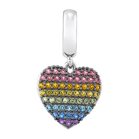 PS Personal Style Rainbow Multi Color Stone Heart Charm, One Size , No Color Family