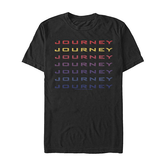 Journey Rainbow Stacked Name Mens Crew Neck Short Sleeve Music Graphic T-Shirt