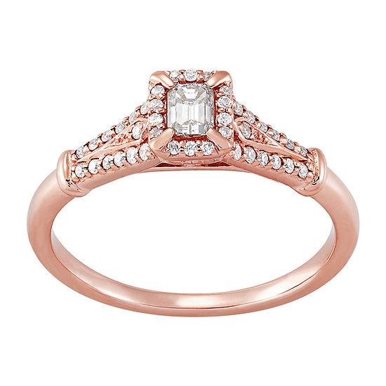 Womens 1/3 CT. T.W. Genuine White Diamond 14K Rose Gold Anniversary Cocktail Ring