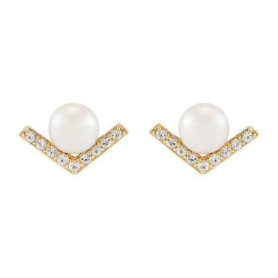 Honora Legacy Dyed White Cultured Freshwater Pearl 10K Gold Drop Earrings