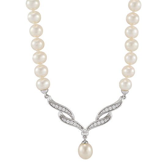 Honora Legacy Womens White Cultured Freshwater Pearl Sterling Silver Beaded Necklace