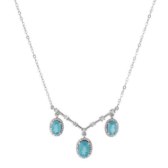 Womens 1/4 CT. T.W. Genuine Blue 10K White Gold Statement Necklace