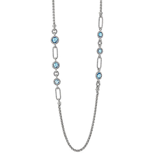Womens Genuine Blue Topaz Sterling Silver Statement Necklace