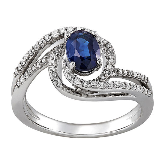 Womens 1/4 CT. T.W. Genuine Blue Sapphire 10K White Gold Cocktail Ring