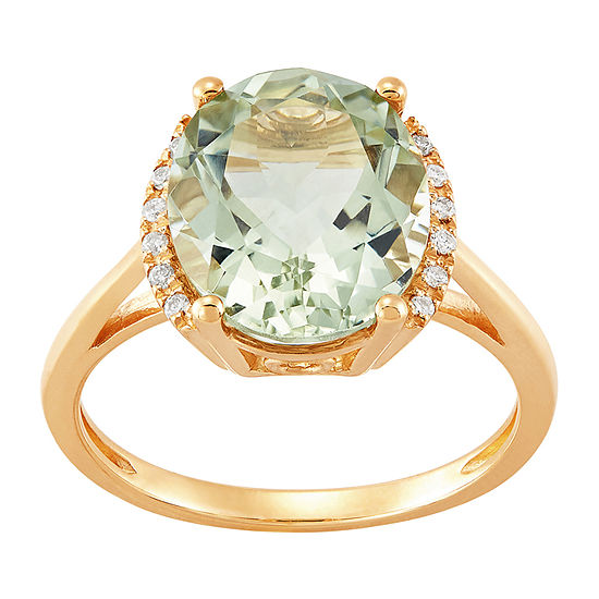 Womens Genuine Green Amethyst 10K Gold Cocktail Ring