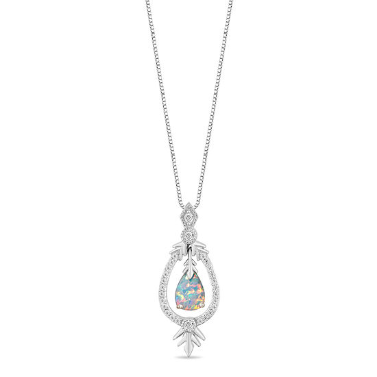 "Enchanted Disney Fine Jewelry ""Frozen 2"" Womens 1/6 CT. T.W. Lab Created White Opal Sterling Silver Disney Princess Pendant Necklace"