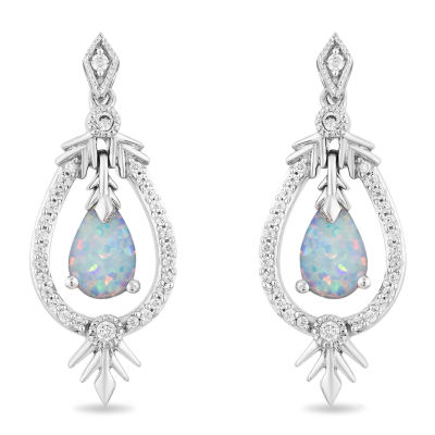 "Enchanted Disney Fine Jewelry ""Frozen 2"" 1/6 CT. T.W. Lab Created White Opal Sterling Silver Disney Princess Drop Earrings"