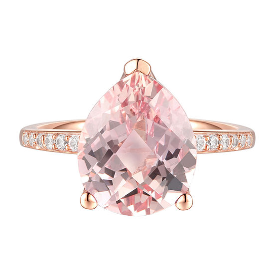 Womens Lab Created Pink Morganite 10K Rose Gold Pear Cocktail Ring