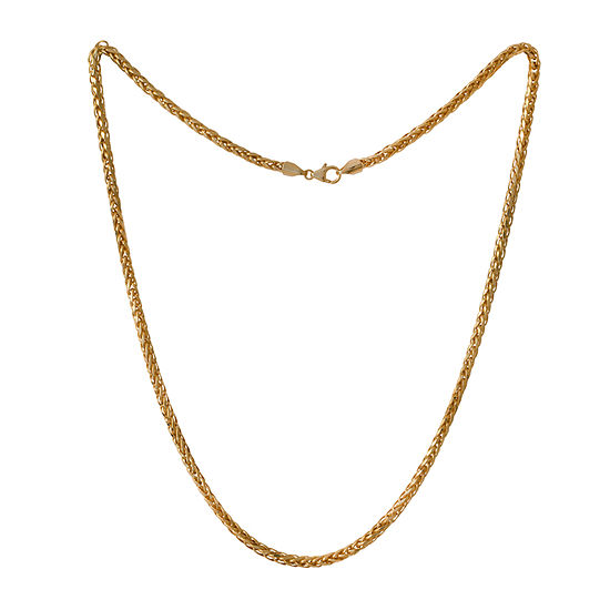 Made in Italy 10K Gold 22 Inch Semisolid Wheat Chain Necklace