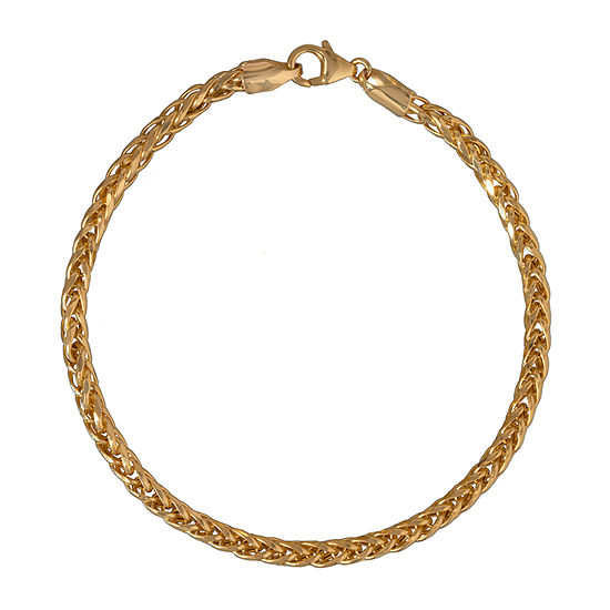 Made in Italy 10K Gold 8 1/2 Inch Semisolid Wheat Chain Bracelet