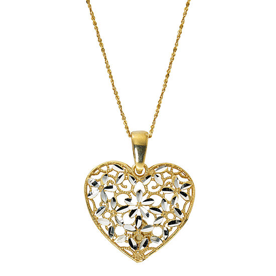 Made in Italy Womens 24K Gold Over Silver Heart Pendant Necklace