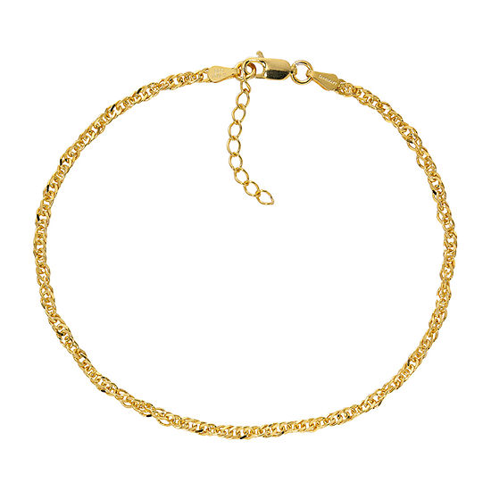 Made in Italy 24K Gold Over Silver 9 Inch Semisolid Singapore Chain Bracelet