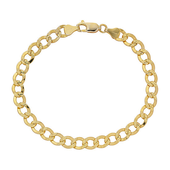 Made in Italy 24K Gold Over Silver 8 1/2 Inch Solid Cable Chain Bracelet