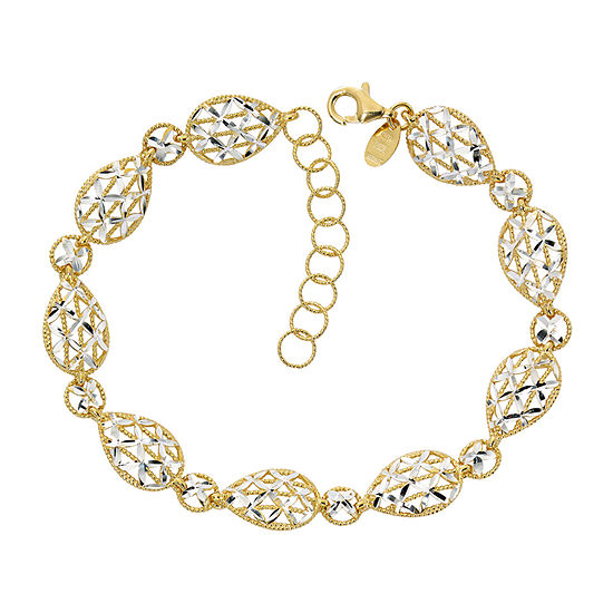 Made in Italy 24K Gold Over Silver 7 Inch Semisolid Casted Link Bracelet