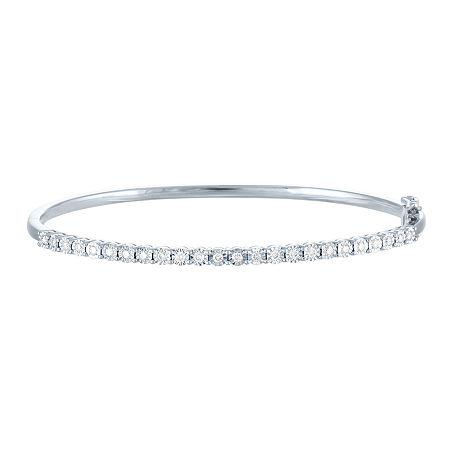 1/2 CT. T.W. Lab Grown Diamond Sterling Silver Bangle Bracelet, One Size
