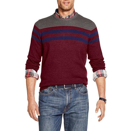 IZOD Big and Tall Striped Crewneck Sweater