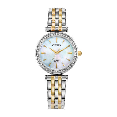 Citizen Womens Crystal Accent Two Tone Stainless Steel Bracelet Watch Er0216-67d