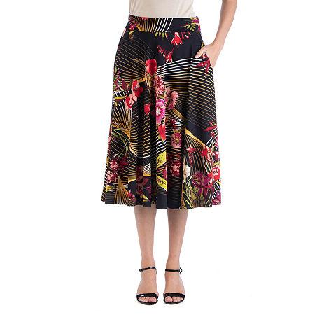 24/7 Comfort Apparel Geometric Floral A Line Midi Skirt, Small , Pink