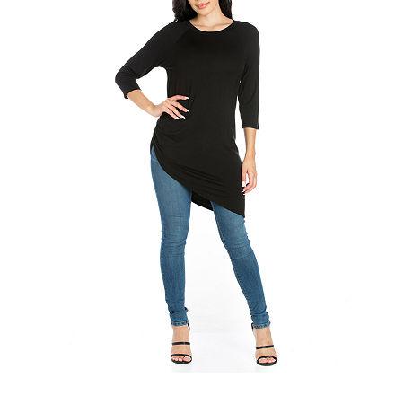 24/7 Comfort Apparel Womens Asymmetrical 3/4 Sleeve Tunic Top, Small , Black
