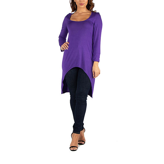 24/7 Comfort Apparel Womens Long Sleeve Hi Low Tunic Top