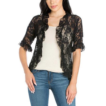 24/7 Comfort Apparel Womens Lace Bolero Shrug, Large , Black