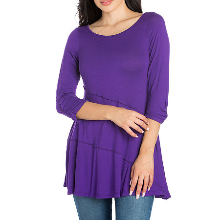 24/7 Comfort Apparel Womens Ruched Sleeve Swing Tunic, Small , Purple
