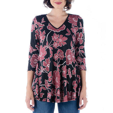 24/7 Comfort Apparel Womens 3/4 V Neck Tunic, X-large , Multiple Colors