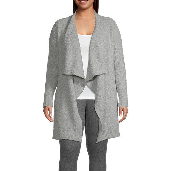 Ambrielle Womens-Plus Knit Robe Long Sleeve Mid Length