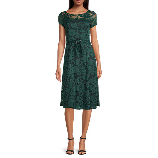 Perceptions Short Sleeve Floral Lace Midi Fit & Flare Dress