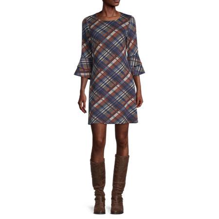 R & K Originals 3/4 Sleeve Plaid Shift Dress, Small , Brown