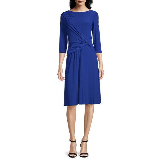 Jessica Howard 3/4 Sleeve Fit & Flare Dress