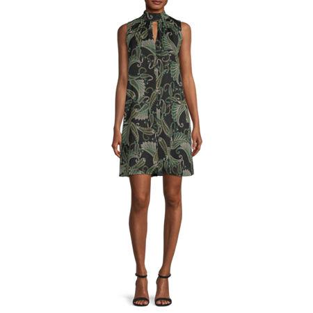 London Times Sleeveless Paisley Swing Dresses