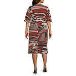 Robbie Bee-Plus 3/4 Sleeve Puff Print Midi Wrap Dress