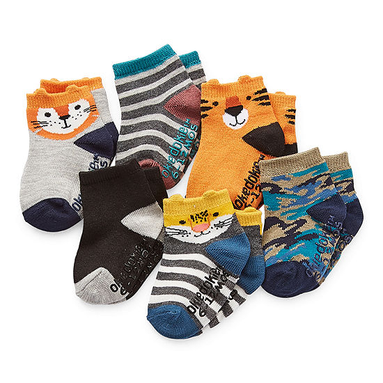 Okie Dokie Baby Boys 6 Pair Crew Socks