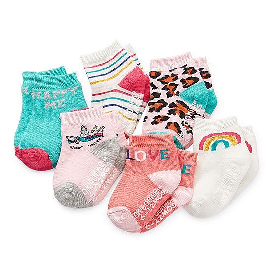 Okie Dokie Baby Girls 6 Pair Crew Socks