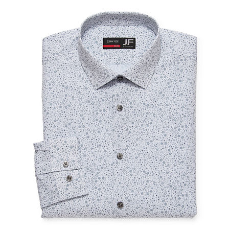 JF J.Ferrar Mens 4-Way Stretch Performance Long Sleeve Slim Dress Shirt, 18-18.5 34-35, Gray