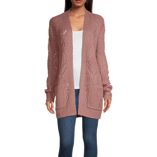 Arizona Womens Open Neck Long Sleeve Cardigan-Juniors