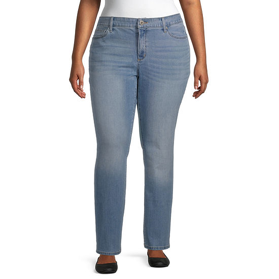 St. John's Bay Womens Mid Rise Stretch Straight Leg Jean
