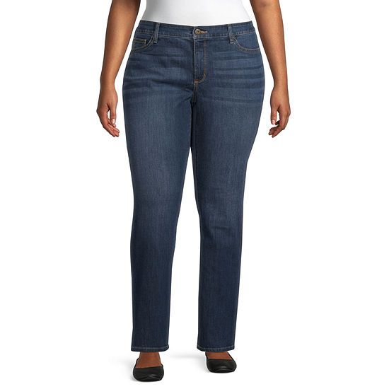 St. John's Bay - Plus Womens Mid Rise Stretch Straight Leg Jean